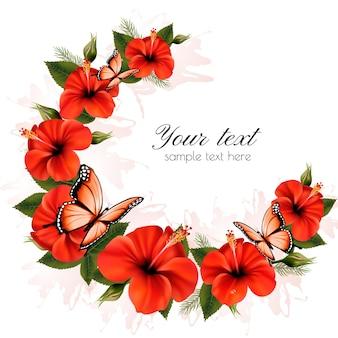 Feiertagshintergrund mit schönheitsblumen und -schmetterlingen. vektor.