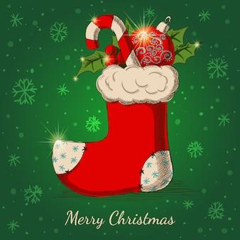 Feiertagshintergrund mit weihnachtshand gezeichneter socke