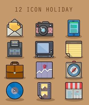 Feiertagsikone eingestellt mit ikone mit 12 buchstaben