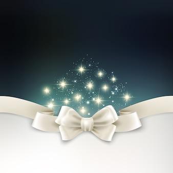 Feiertagslicht weihnachtshintergrund mit weißem silk bogen