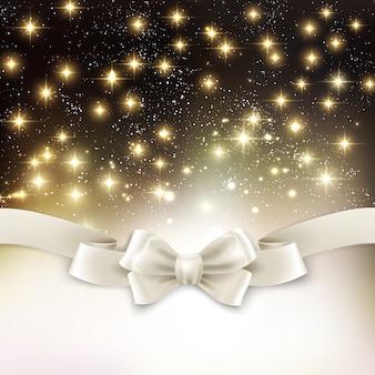 Feiertagslichtweihnachtshintergrund mit weißer seidenschleife