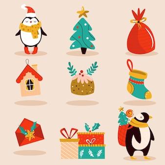 Feiertagsset mit süßen charakteren und dekorativen weihnachtselementen. festliche vektorgrafiken.