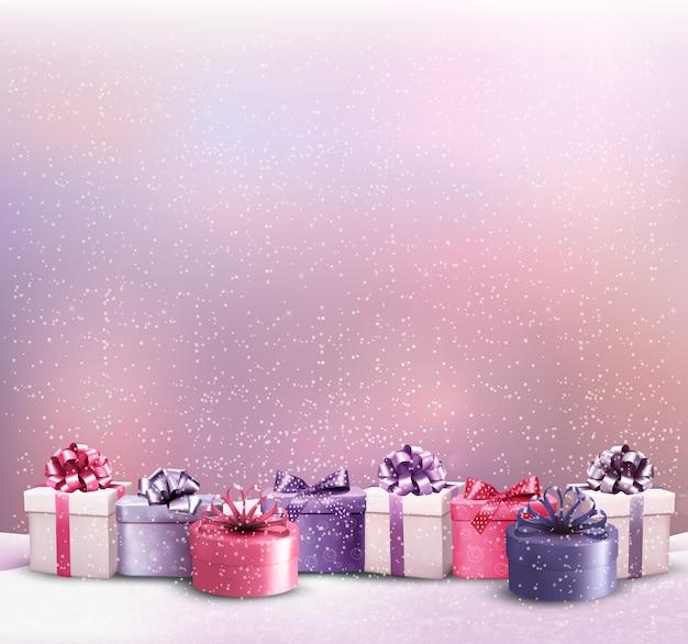 Feiertagsweihnachtshintergrund mit einem rand der geschenkboxen.
