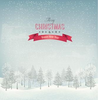Feiertagsweihnachtshintergrund mit winterlandschaft
