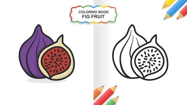 Feigenfrucht handgezeichnetes malbuch zum lernen. flache farbe druckfertig