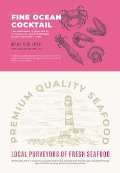 Feiner ozean-meeresfrüchte-cocktail. abstraktes vektor-verpackungsdesign oder etikett. moderne typografie und handgezeichnete krabben-, garnelen-, tintenfisch-, jakobsmuschel- und muschelskizzen-silhouette mit meeresleuchtturm-hintergrund-layout