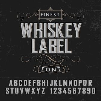 Feinstes whisky-etikettenplakat mit dekoration auf schwarzer illustration