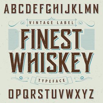 Feinstes whiskyplakat mit dekoration und band in der vintage artillustration