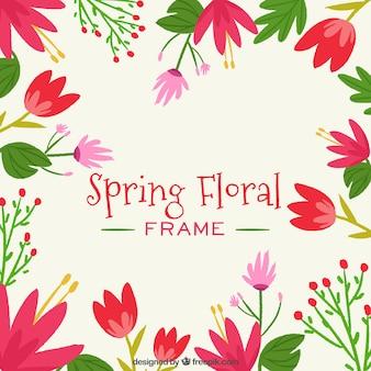 Feld des Frühlinges mit Blumen mit roten Farben