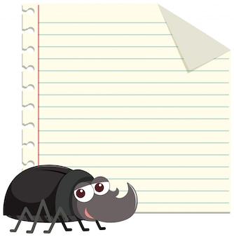 Feldauslegungschablone mit nettem käfer