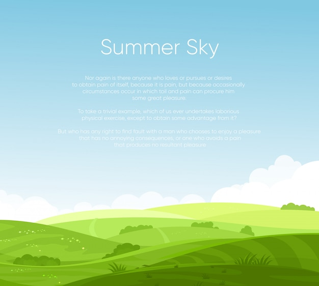 Felder landschaft mit schönen morgengrauen, grünen hügeln, hellem blauen himmel mit platz für ihren text, hintergrund im flachen karikaturstil.