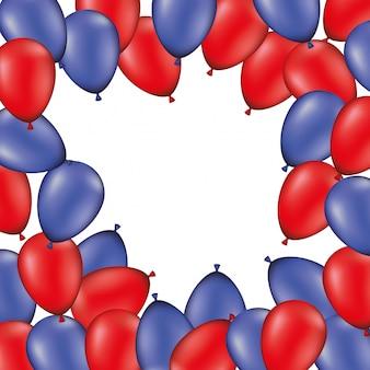 Feldhintergrund mit den roten und blauen ballonen