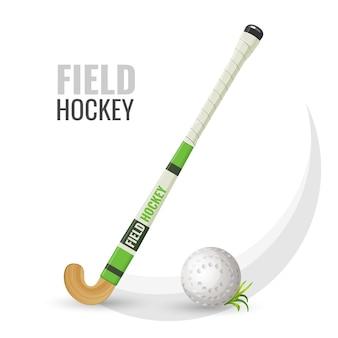 Feldhockey wettkampfspiel und ausrüstung mit ball. beliebte freizeit- und sportaktivitäten. golfschlägersymbol isoated auf weiß