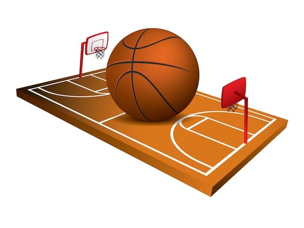 Feldvektor des basketballs 3d