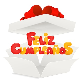 Feliz cumpleanos - alles gute zum geburtstag in der spanischen grußkarte mit geöffnetem kasten.