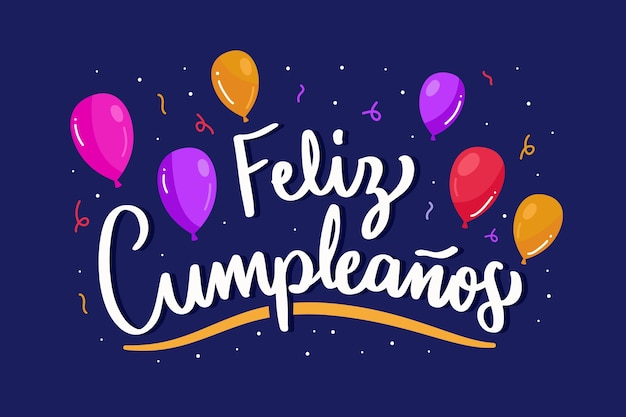 Feliz cumpleaños schriftzug mit luftballons und konfetti