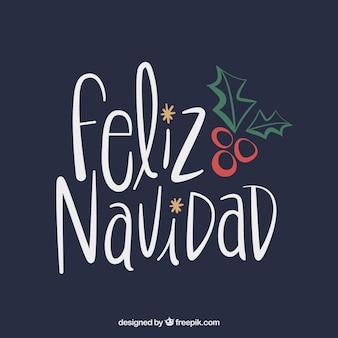 Feliz navidad beschriftungshintergrund mit hand gezeichnetem mistelzweig