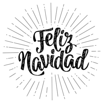 Feliz navidad kalligraphie-schriftzug mit gruß vektor-vintage-schwarz-illustration auf weiß