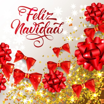 Feliz navidad-schriftzug mit glänzenden konfetti- und bandbögen