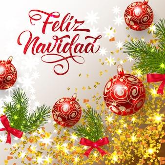 Feliz navidad-schriftzug mit glänzenden konfetti und hellen kugeln