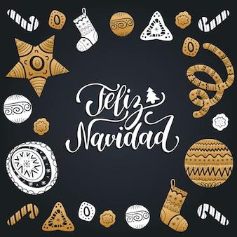 Feliz navidad übersetzte frohe weihnachten schriftzug mit festlichen elementen.
