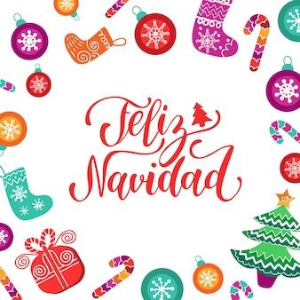 Feliz navidad übersetzte frohe weihnachten schriftzug mit festlichen neujahrselementen.