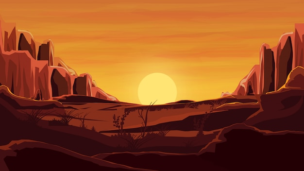Felsen in der wüste, orange sonnenuntergang, berge, sand, schöner himmel.