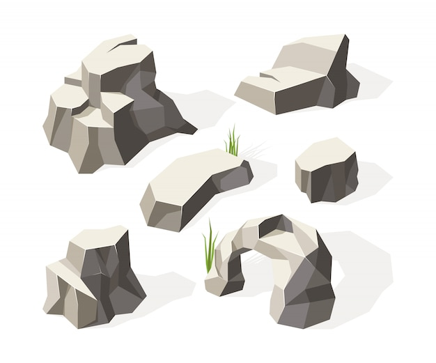 Felsen isometrisch. graue steine für wandbaublock granit mineralgesteinsoberfläche
