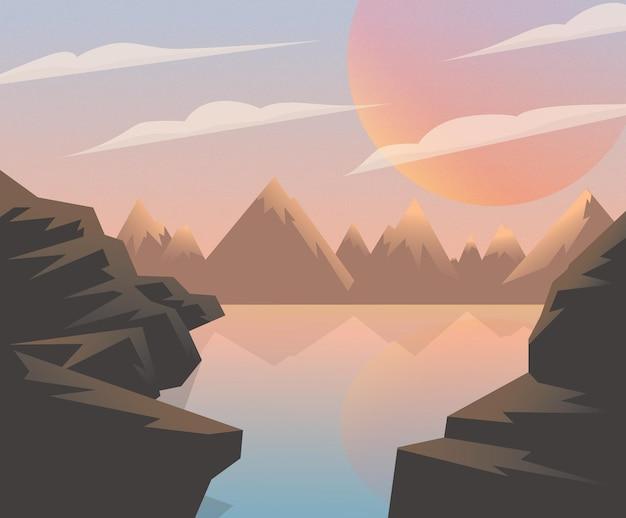 Felsen natur see landschaft dämmerung, sonnenaufgang, sonnenuntergang. großes rotes sonnenplakat - vektor-clipart eps10
