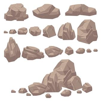 Felsstein. isometrische felsen und steine, massive felsbrocken aus geologischem granit. kopfsteinpflaster für bergspielkarikaturlandschaft. vektorsatz