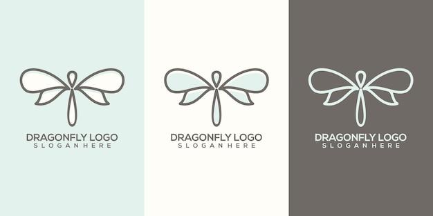 Feminim abstrakte libelle logo vorlage