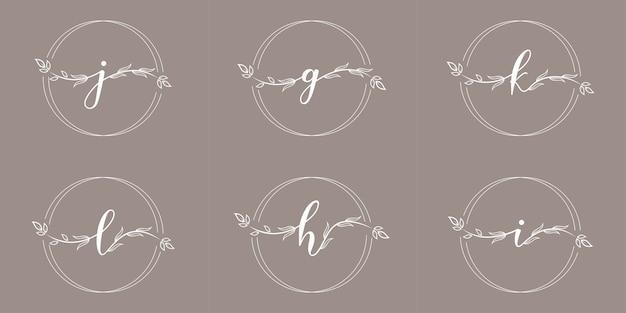 Feminime initiale mit blumenrahmen-logoschablone