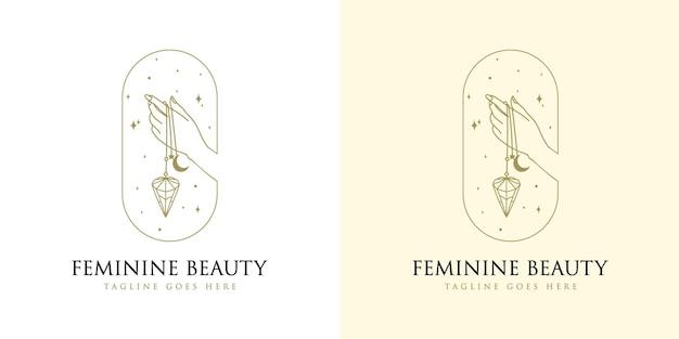 Feminine beauty boho-logo mit frauenhandnagelkristalldiamant und stern für make-up-salon-spa-marke
