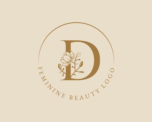 Feminine botanische d-buchstabe-anfangs-lorbeerkranz-logo-vorlage für die hochzeit im spa-schönheitssalon