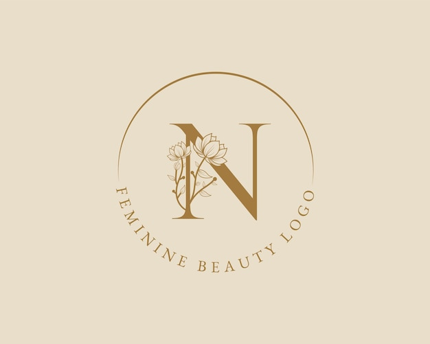 Feminine botanische n-buchstaben-anfangslorbeerkranz-logo-vorlage für spa-schönheitssalon-hochzeitskarte