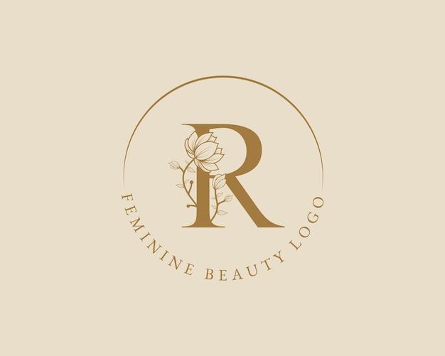 Feminine botanische r-buchstaben-anfangslorbeerkranz-logo-vorlage für spa-schönheitssalon-hochzeitskarte