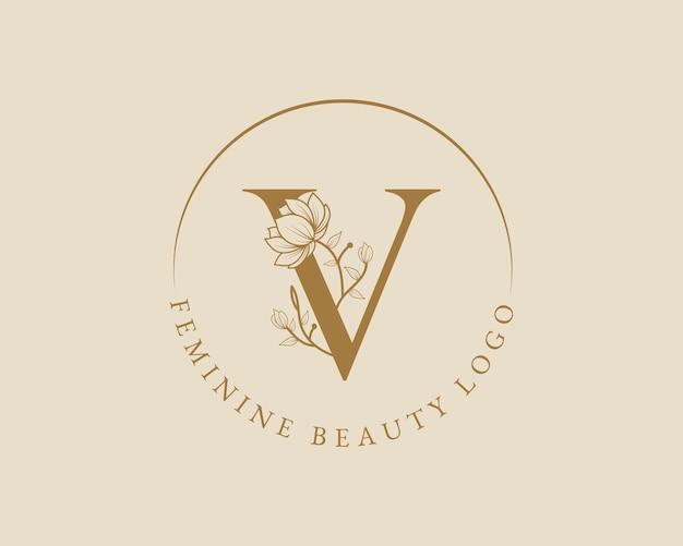 Feminine botanische v-buchstaben-anfangslorbeerkranz-logo-vorlage für spa-schönheitssalon-hochzeitskarte