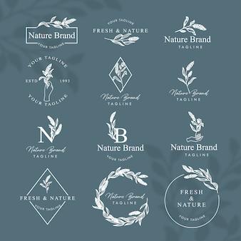 Feminine floral line art logo bearbeitbares schablonensatz