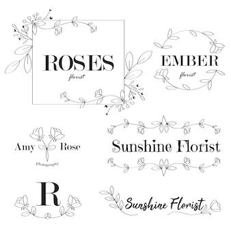 Feminine flower logo vorlagen florist