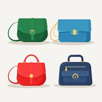 Feminine handtasche zum einkaufen, reisen, urlaub. ledertasche mit griff auf weißem hintergrund. schöne lässige sammlung von sommerfrau accessoire.