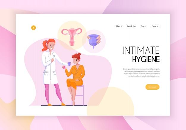 Feminine intime hygiene konzept webseite flache horizontale banner mit medizinischen assistenten produkte anwendungsberatung vektor-illustration