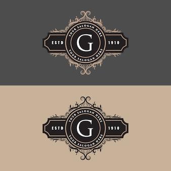 Feminine königliche luxus vintage vintage stil abzeichen logo design mit schnörkel ornament. buchstabe g gesetzt