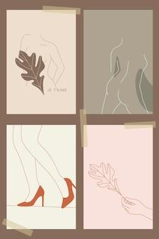 Feminine line art sammlung