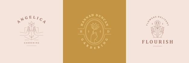 Feminine logos embleme design-vorlagen mit frauenhänden und blumen-vektor-illustrationen