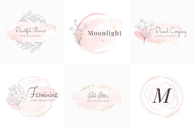 Feminine logosammlung, handgezeichnete moderne minimalistische und blumen- und aquarellabzeichenvorlagen für branding, identität, boutique, salon