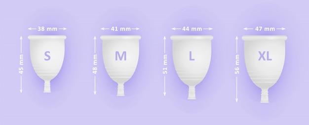 Feminine menstruationstasse gesetzt. verschiedene tassengrößen s, m, l, xl. menstruationspflege für frauen.