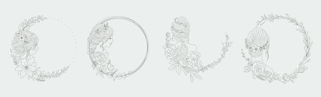 Feminine rahmen für frauen logo mit blumendekorationen