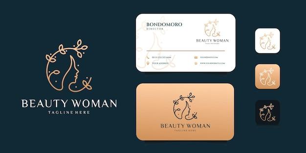 Feminine schönheit frau logo design mit visitenkarte vorlage.