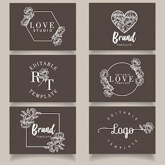Femininer botanischer vorlagensatz des unbedeutenden modernen logos