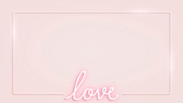 Femininer neonrahmen auf rosa hintergrund